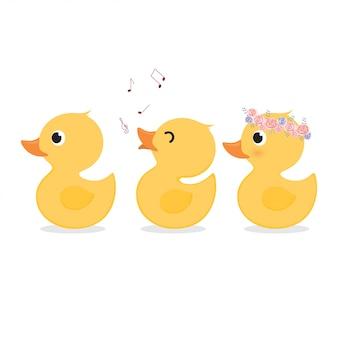 Zestaw kolekcja ładny żółty kaczki.