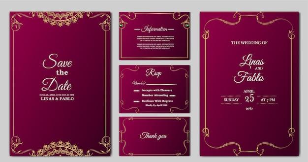 Zestaw kolekcja luksusowych zaproszeń ślubnych szablon projektu