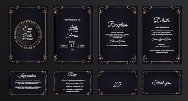 Zestaw kolekcja luksusowych zaproszenia ślubne