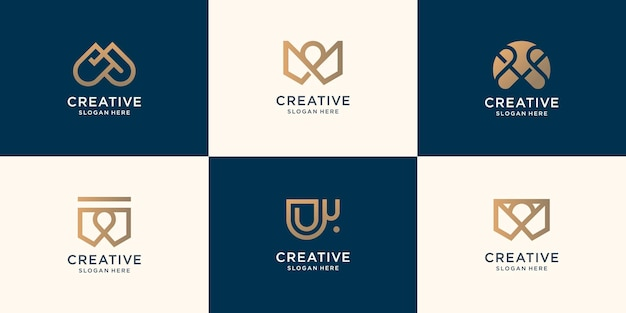 Zestaw kolekcja monogram list w szablon projektu. inspiracja początkowe logo do projektowania logo firmy.