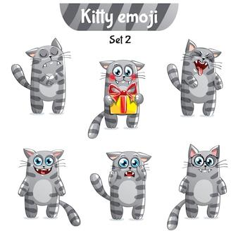 Zestaw kolekcja naklejek emoji emotikonów emocja na białym tle ilustracja szczęśliwy charakter słodki, ładny szary, dymny, w paski, pręgowany kot, kotek
