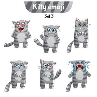 Zestaw kolekcja naklejek emoji emotikonów emocja na białym tle ilustracja szczęśliwy charakter słodki, ładny szary, dymny, w paski, pręgowany kot