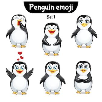 Zestaw kolekcja naklejek emoji emotikonów emocja na białym tle ilustracja szczęśliwy charakter słodki, uroczy pingwin