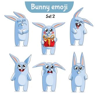 Zestaw kolekcja naklejek emoji emotikonów emocja wektor ilustracja na białym tle szczęśliwy charakter słodki, ładny biały królik, królik, zając.