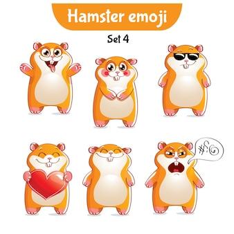 Zestaw kolekcja naklejki emoji emotikon emocja na białym tle ilustracja szczęśliwy charakter słodki, uroczy chomik