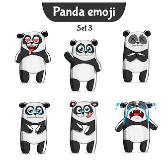 Zestaw kolekcja naklejki emoji emotikonów emocja wektor ilustracja na białym tle szczęśliwy charakter słodka, urocza panda