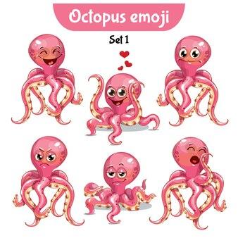 Zestaw kolekcja naklejki emoji emotikonów emocja wektor ilustracja na białym tle szczęśliwy charakter słodka, urocza różowa ośmiornica