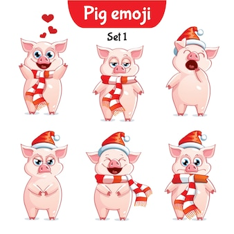 Zestaw kolekcja naklejki emoji emotikonów emocja wektor ilustracja na białym tle szczęśliwy charakter słodka, urocza świnia świąteczna