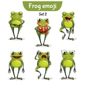 Zestaw kolekcja naklejki emoji emotikonów emocja wektor ilustracja na białym tle szczęśliwy charakter słodka, urocza żaba