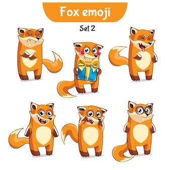 Zestaw kolekcja naklejki emoji emotikonów emocja wektor ilustracja na białym tle szczęśliwy charakter słodki, ładny rudy lis, lis