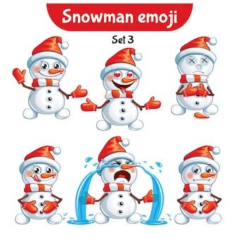 Zestaw kolekcja naklejki emoji emotikonów emocja wektor ilustracja na białym tle szczęśliwy charakter słodki, słodki bałwan