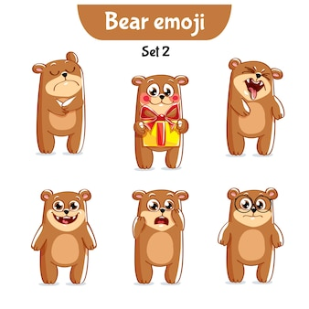 Zestaw kolekcja naklejki emoji emotikonów emocja wektor ilustracja na białym tle szczęśliwy charakter słodki, słodki niedźwiedź brunatny