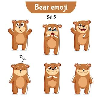 Zestaw Kolekcja Naklejki Emoji Emotikonów Emocja Wektor Ilustracja Na Białym Tle Szczęśliwy Charakter Słodki, Słodki Niedźwiedź Brunatny Premium Wektorów