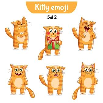 Zestaw kolekcja naklejki emoji emotikonów emocja wektor ilustracja na białym tle szczęśliwy charakter słodki, uroczy czerwony kot, kotek