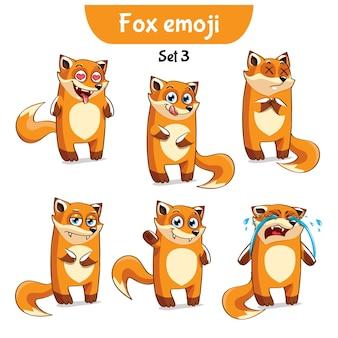Zestaw kolekcja naklejki emoji emotikonów emocja wektor ilustracja na białym tle szczęśliwy charakter słodki, uroczy czerwony lis