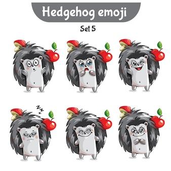 Zestaw kolekcja naklejki emoji emotikonów emocja wektor ilustracja na białym tle szczęśliwy charakter słodki, uroczy jeż