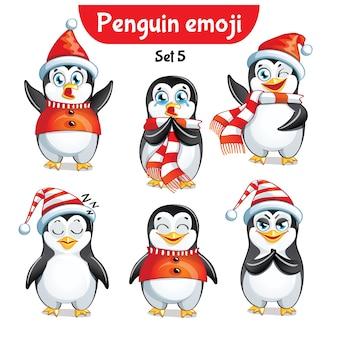 Zestaw kolekcja naklejki emoji emotikonów emocja wektor ilustracja na białym tle szczęśliwy charakter słodki, uroczy świąteczny pingwin