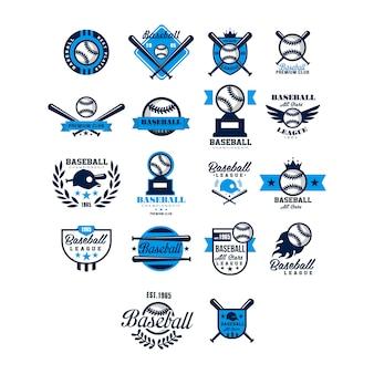 Zestaw kolekcja odznaka i logo baseballu