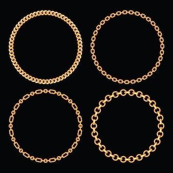 Zestaw kolekcja okrągłych ramek ze złotymi łańcuchami. na czarno. ilustracji wektorowych.