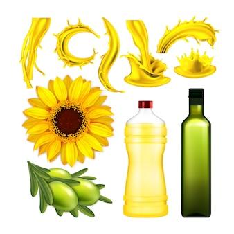 Zestaw kolekcja oliwek i oleju słonecznikowego