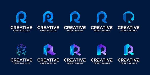 Zestaw kolekcja pierwsza litera r rr szablon logo. ikony dla biznesu mody, sportu, motoryzacji, technologii cyfrowych.