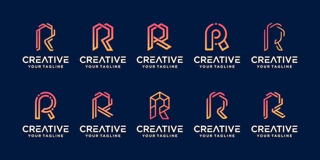 Zestaw kolekcja pierwsza litera r rr szablon logo.