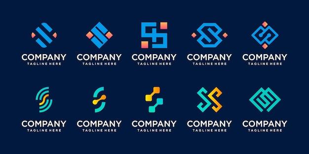 Zestaw kolekcja pierwsza litera s ss szablon logo.