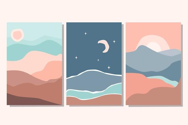 Zestaw kolekcja plakatów streszczenie kolorowy krajobraz ze słońcem, księżycem, gwiazdą, morzem, górami, rzeką. płaskie ilustracji wektorowych. współczesne szablony do druku artystycznego, tła dla mediów społecznościowych.