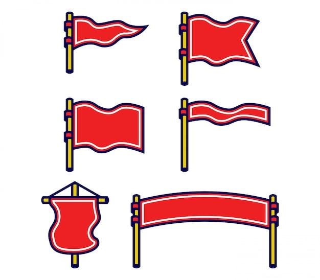 Zestaw kolekcja pogrubiony zarys pustą flagę ilustracji wektorowych.