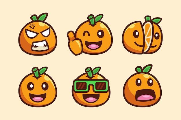 Zestaw kolekcja postaci z kreskówek pomarańczowych owoców