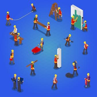Zestaw kolekcja pracowników budowlanych izometryczny budowniczych