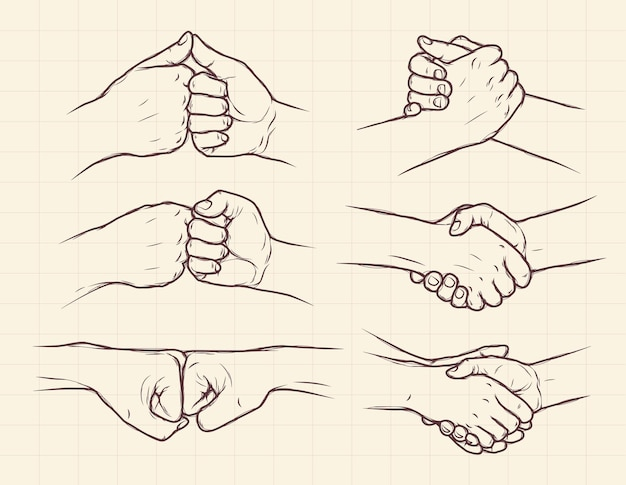 Zestaw kolekcja ręcznie rysowane uścisk dłoni