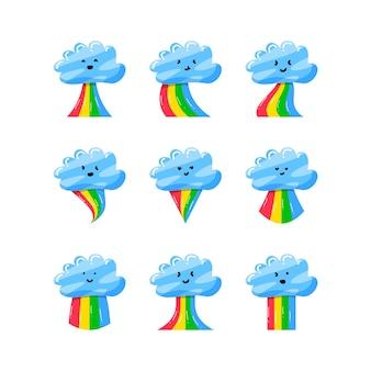 Zestaw kolekcja śliczna chmura z kolorową tęczą w stylu wyciągnąć rękę płaski