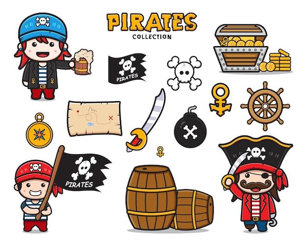 Zestaw kolekcja ślicznych piratów i sprzętu ikona ilustracja kreskówka clipart. zaprojektuj na białym tle płaski styl kreskówki