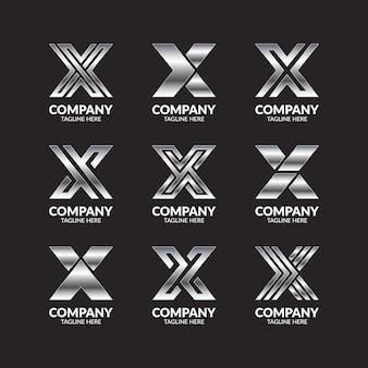 Zestaw kolekcja srebrny monogram litera x logo design