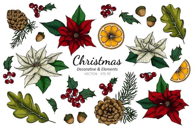 Zestaw kolekcja świątecznych dekoracyjnych kwiatów i liści