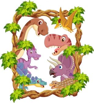 Zestaw kolekcja szczęśliwy dinozaurów kreskówka