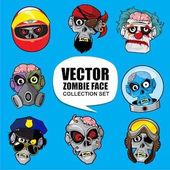 Zestaw kolekcja twarzy zombie vector