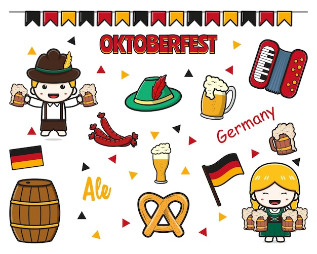 Zestaw kolekcja uroczych oktoberfest uroczystości kreskówka ikona clipart ilustracja projekt na białym tle płaski styl kreskówki