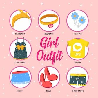 Zestaw kolekcja wektor strój dziewczyna