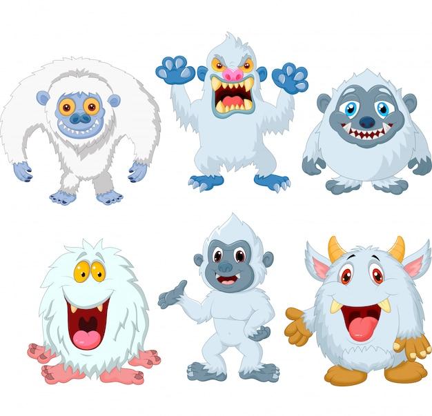 Zestaw kolekcja zabawny potwór kreskówka