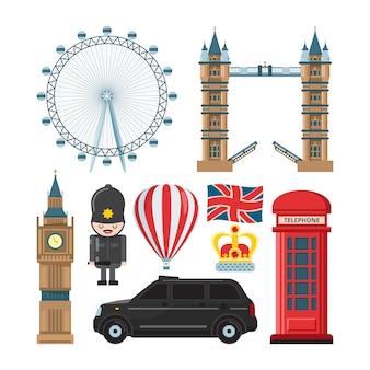 Zestaw kolekcja zabytków londynu