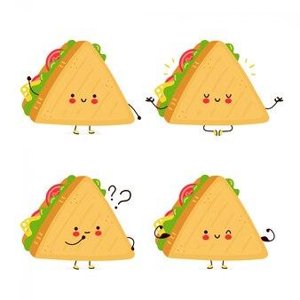 Zestaw kolekcja zestaw ładny szczęśliwy śmieszne kanapki. postać z kreskówki ręcznie rysowane styl ilustracji