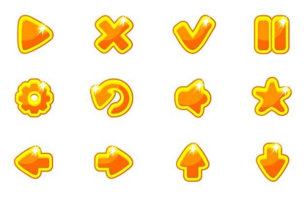 Zestaw kolekcja złota szklane guziki do interfejsu użytkownika