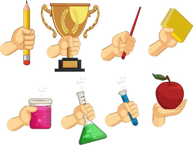 Zestaw kolekcja znak dłoni - gesty szkolne