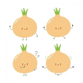 Zestaw kolekcja znaków ładny szczęśliwy cebuli. pojedynczo na białym. wektorowego postać z kreskówki ilustracyjny projekt, prosty mieszkanie styl. spacer z cebulą, pociąg, myśl, medytuj pojęcie
