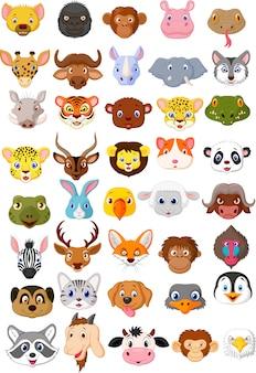 Zestaw kolekcja zwierząt głowa kreskówka
