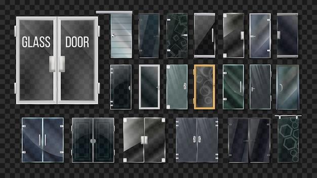 Zestaw kolekcji architektury szklanych drzwi