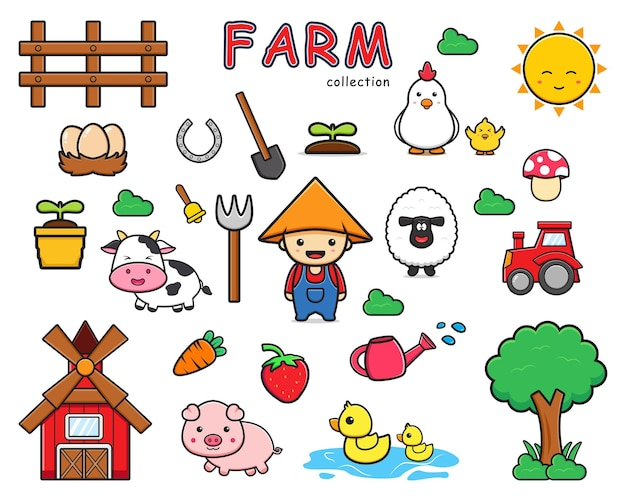 Zestaw kolekcji cute farm cartoon doodle clip art ikona ilustracja projekt płaski styl kreskówki