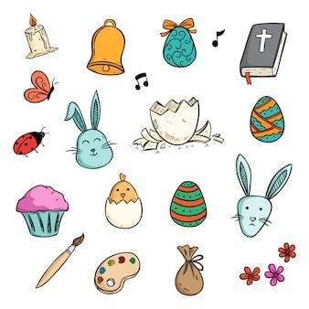 Zestaw kolekcji cute ikony wielkanocne w stylu kolorowe doodle